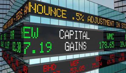 Capital Gains Investment Income Revenue Stock Market Ticker 3d Render Illustration