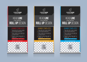 Roll Up Banner template design vector illustration, Presentation and Brochure Flyer. Vector illustration
