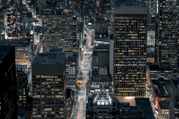 Downtown Seattle Streets At Night From Above