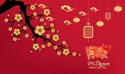Happy Chinese New Year 2019 year of the pig paper cut style. Zodiac sign for greetings card, flyers, invitation, posters, brochure, banners, calendar