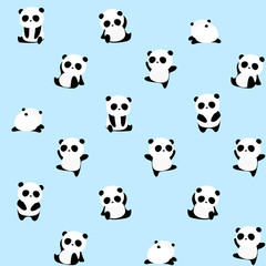 Seamless Vector Pattern: panda bear pattern on light blue background. Small pandas with different gestures.