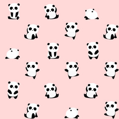 Seamless Vector Pattern: panda bear pattern on light pink background. Small pandas with different gestures.