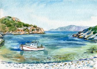 sea bay with boat watercolor Fotomurales