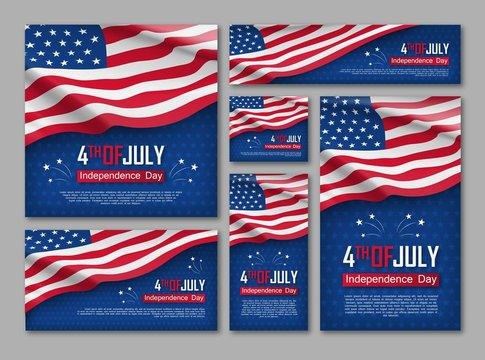 Independence day celebration banners set. 4th of july felicitation greeting cards with waving american national flag on blue background. USA country federal patriotic holiday. Vector illustration
