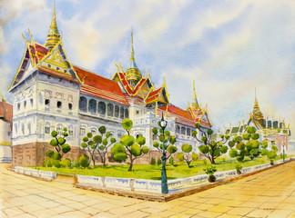 Royal grand palace, Watercolor painting