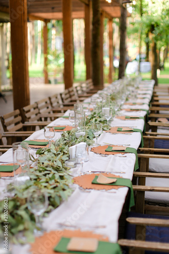 Long table served for banquet at restaurant  Concept of catering