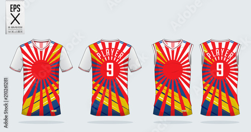 36e118c73b9d1b Red Sunrise and Color stripe t-shirt sport design template for soccer  jersey