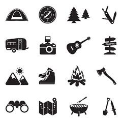 Camping Icons. Black Flat Design. Vector Illustration.