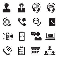 Call Center Icons. Black Flat Design. Vector Illustration.
