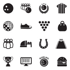 Bowling Icons. Black Flat Design. Vector Illustration.