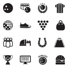 Bowling Icons. Black Flat Design. Vector Illustration.