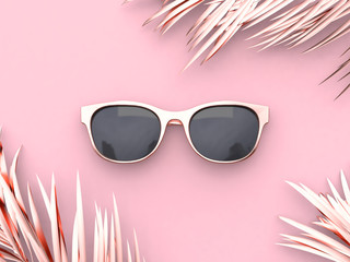 Pink scene abstract sunglasses summer concept 3d rendering Wall mural