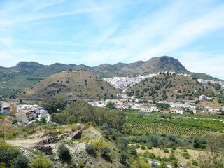 View of Alora village across Guadalhorce valley