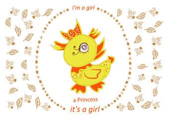 Girl shower invitation, lettering design  vector illustration EP