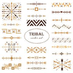 Brown vector tribal set of design elements. Brush set.