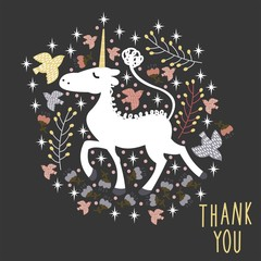 "Vector illustration with a magic unicorn and the inscription ""Thank You"""
