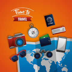 time to travel map sunglasses compass passport ticket phone