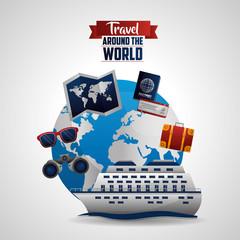 travel around the world cruise trip glasses binoculars red equipment glasses passport vector illustration
