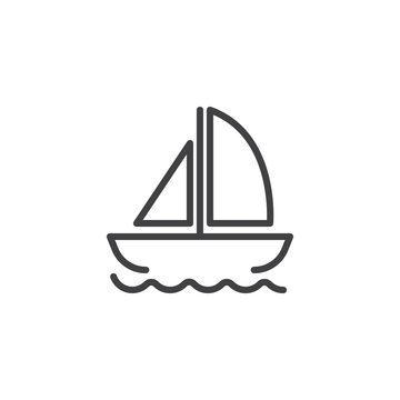 Yacht on waves outline icon. linear style sign for mobile concept and web design. Floating ship simple line vector icon. Symbol, logo illustration. Pixel perfect vector graphics