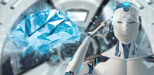 White man humanoid creating artificial intelligence 3D rendering