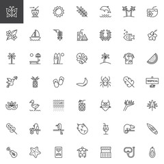Tropical vacation outline icons set. linear style symbols collection, line signs pack vector graphics. Set includes icons as Cocktail, Yacht ship, Palm tree, Sunbed, Surfboard, Bikini, Hammock, Guitar