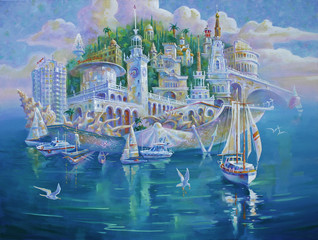 Artwork. Sochi is the pearl of Russia. Author: Nikolay Sivenkov.