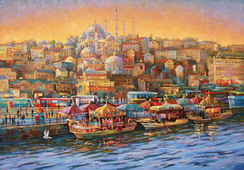 Oil painting on canvas.  Istanbul. Golden Horn Bay. Author: Nikolay Sivenkov.