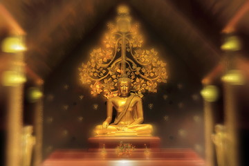 Meditating buddha image, golden color material. Abstract defocus bokeh golden yellow light surrounded statue with two blur disciples praying in front and bodhi tree in the back. Thai art style.
