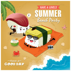 Vintage Summer poster with Tamago, Hokkigai sushi character, palm tree.