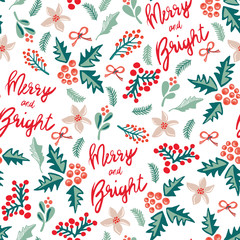 Merry and Bright lettering, misteltoes, leaves, bows, and christmas flowers. White background. Seamless vector pattern. Great for the Christmas season - greeting cards, gift wrap, fabric.