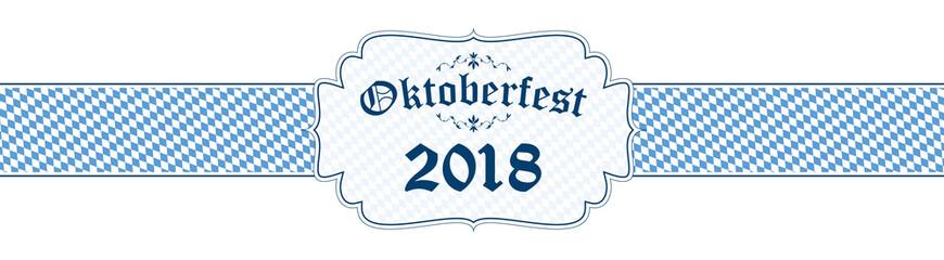 Oktoberfest banner with text Oktoberfest 2018