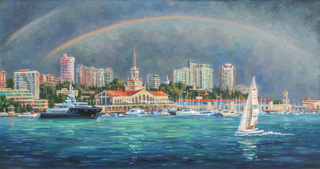 Oil painting on canvas.  Double Rainbow. Architectural landscape of the beloved city of Sochi. Author: Nikolay Sivenkov.