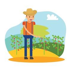 cute farmers are farming tomato cartoon character