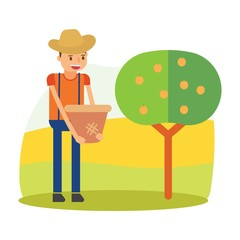 cute farmers are farming apricot cartoon character