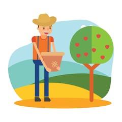 cute farmers are farming red apple treecartoon character