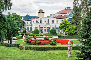 Historical buildings in Piestany spa, Slovakia Wall mural