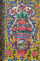 Decorated wall of entrance to the Nasir Ol-Molk mosque, also famous as Pink Mosque. Shiraz. Iran