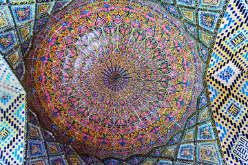 Detail of the ceiling in Nasir Ol-Molk mosque, also famous as Pink Mosque. Shiraz. Iran