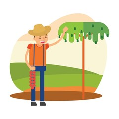cute farmers are farming avocado cartoon character