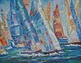 Oil painting on canvas. Regatta of large yachts. Author: Nikolay Sivenkov.