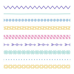 Tribal brushes. Border. Ethnic hand drawn vector line border set. Design element. Native brushes. Aztec geometric vintage fashion pattern for design. Trendy doodle style.