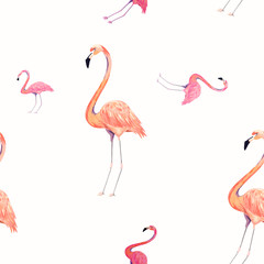 Seamless pattern with exotic flamingo. Summer decoration print for wrapping, wallpaper, fabric. Vector illustration.
