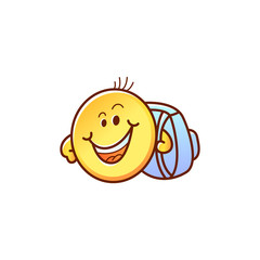 Smiley face student with backpack - cute happy yellow emoticon boy with school bag isolated on white background. Back to school cartoon emoji character in vector illustration.