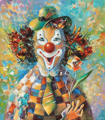 An oil painting on canvas. Clown with a flower. Author: Nikolay Sivenkov.