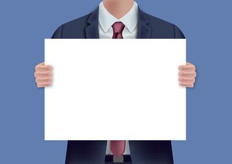 pancarte - présentation - homme - fond -  poster - panneau - concept - entreprise - affiche
