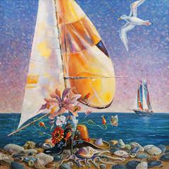 An oil painting on canvas. Beach still life. Author: Nikolay Sivenkov.
