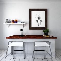 Küchentheke mit 2 Stühlen
