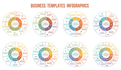 Circle arrows Infographics. Templates for  3, 4, 5, 6, 7, 8, 9, 10 positions.