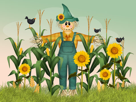 scarecrow in the field of panicles