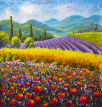 Red poppies painting. Italian Lavender summer countryside. French Tuscany. Field of yellow rye. Rural houses and high cypress trees on hill. Mountains in background. Oil painting palette knife impasto